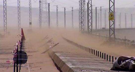 Las tormentas de arena, una de las dificultades de la construcción del AVE Medina-La Meca.