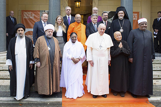 Pope Francis (front 3rd R) poses with religious leaders during a meeting at the Pontifical Academy of Sciences at the Vatican December 2, 2014. REUTERS/Osservatore Romano (VATICAN - Tags: RELIGION TPX IMAGES OF THE DAY) ATTENTION EDITORS - THIS PICTURE WAS PROVIDED BY A THIRD PARTY. REUTERS IS UNABLE TO INDEPENDENTLY VERIFY AUNTICITY, CONTENT, LOCATION OR DATE THIS IMAGE THIS PICTURE IS DISTRIBUTED EXACTLY AS RECEIVED BY REUTERS, AS A SERVICE TO CLIENTS. NO SALES. NO ARCHIVES. FOR EDITORIAL USE ONLY. NOT FOR SALE FOR MARKETING OR ADVERTISING CAMPAIGNS. THIS PICTURE WAS PROCESSED BY REUTERS TO ENHANCE QUALITY. AN UNPROCESSED VERSION WILL BE PROVIDED SEPARATELY